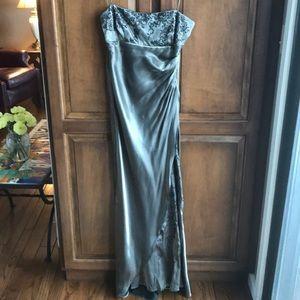 Dresses & Skirts - Pewter metallic satin evening gown size 7/8.